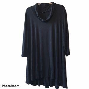 NWOT TAHARI Black Cowl Neck Dress/Tunic, Sz 2X
